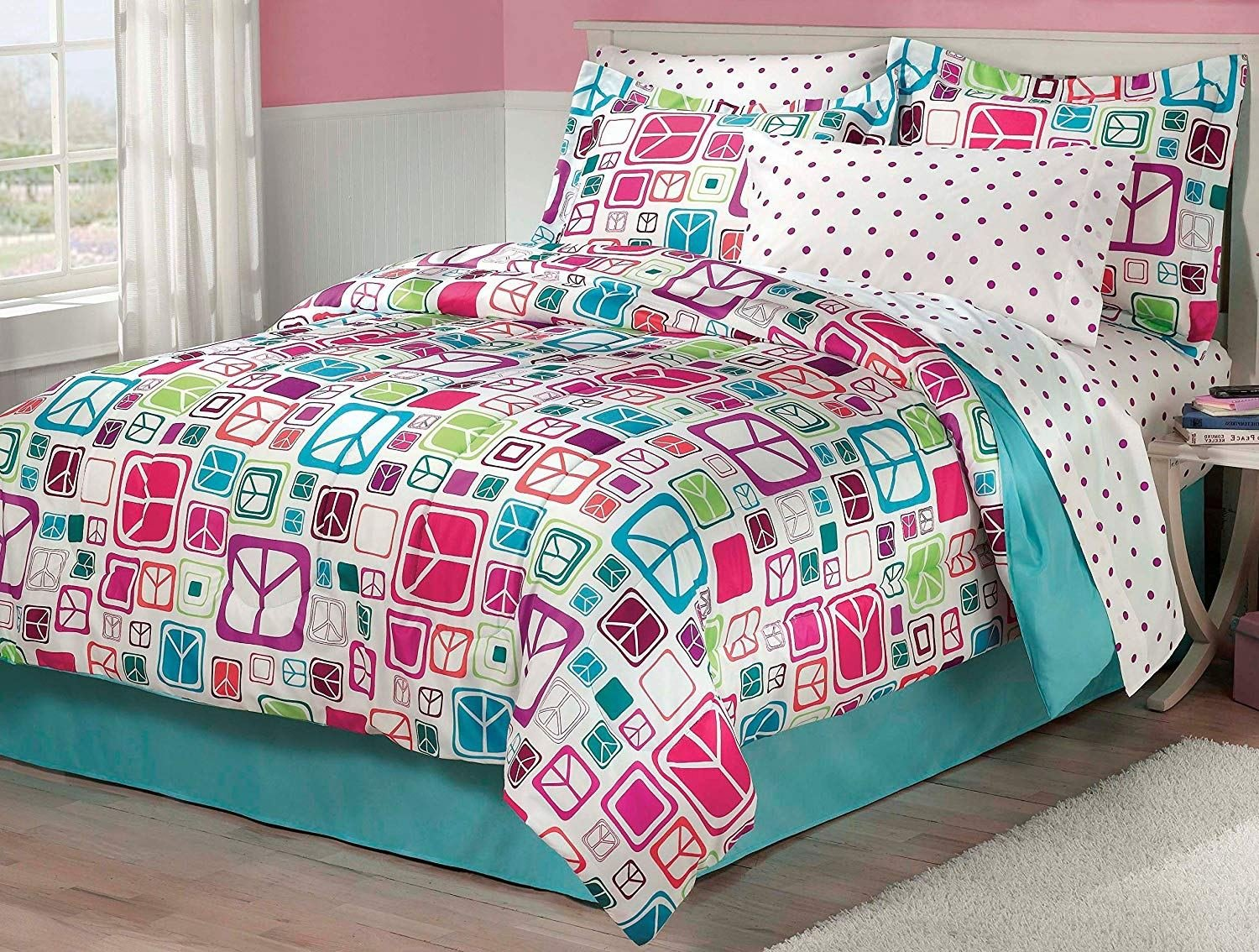 Best My Room Peace Out Girls Comforter Set With Bedskirt Teal With Pictures