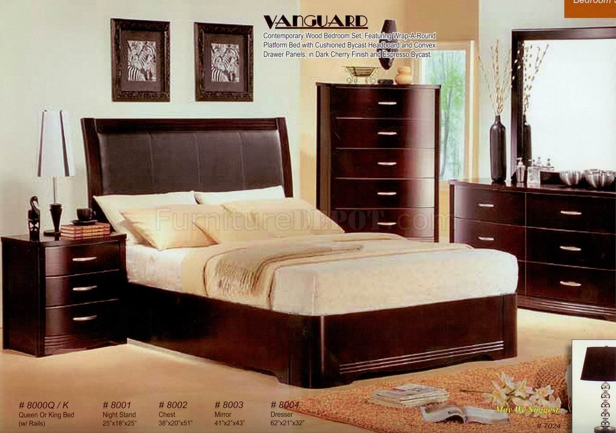 Best Dark Cherry Finish Contemporary Bedroom W Optional Casegoods With Pictures