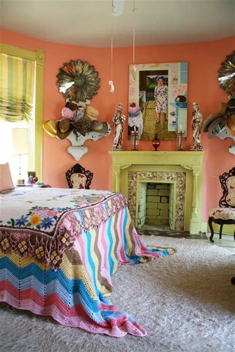 Best Salmon Bedroom With Light Green Fireplace Hooked On Houses With Pictures