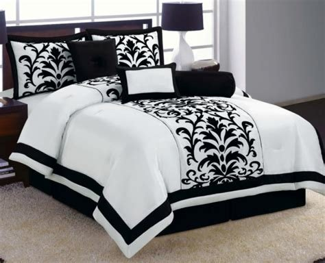 Best 15 Pc White Black Luxury Flocking Comforter Curtain Set With Pictures