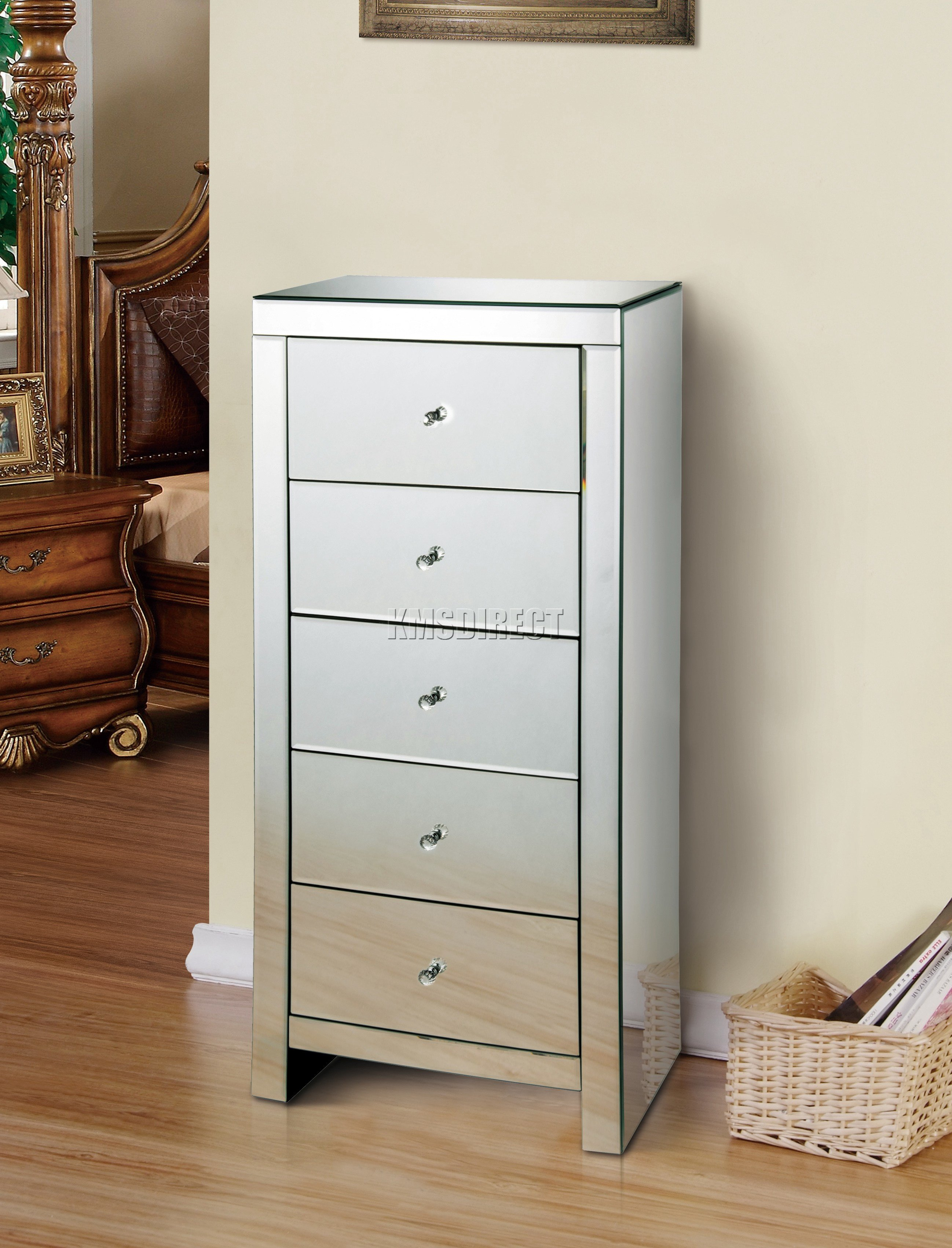 Best Foxhunter Mirrored Furniture Glass 5 Drawer Tallboy Chest With Pictures