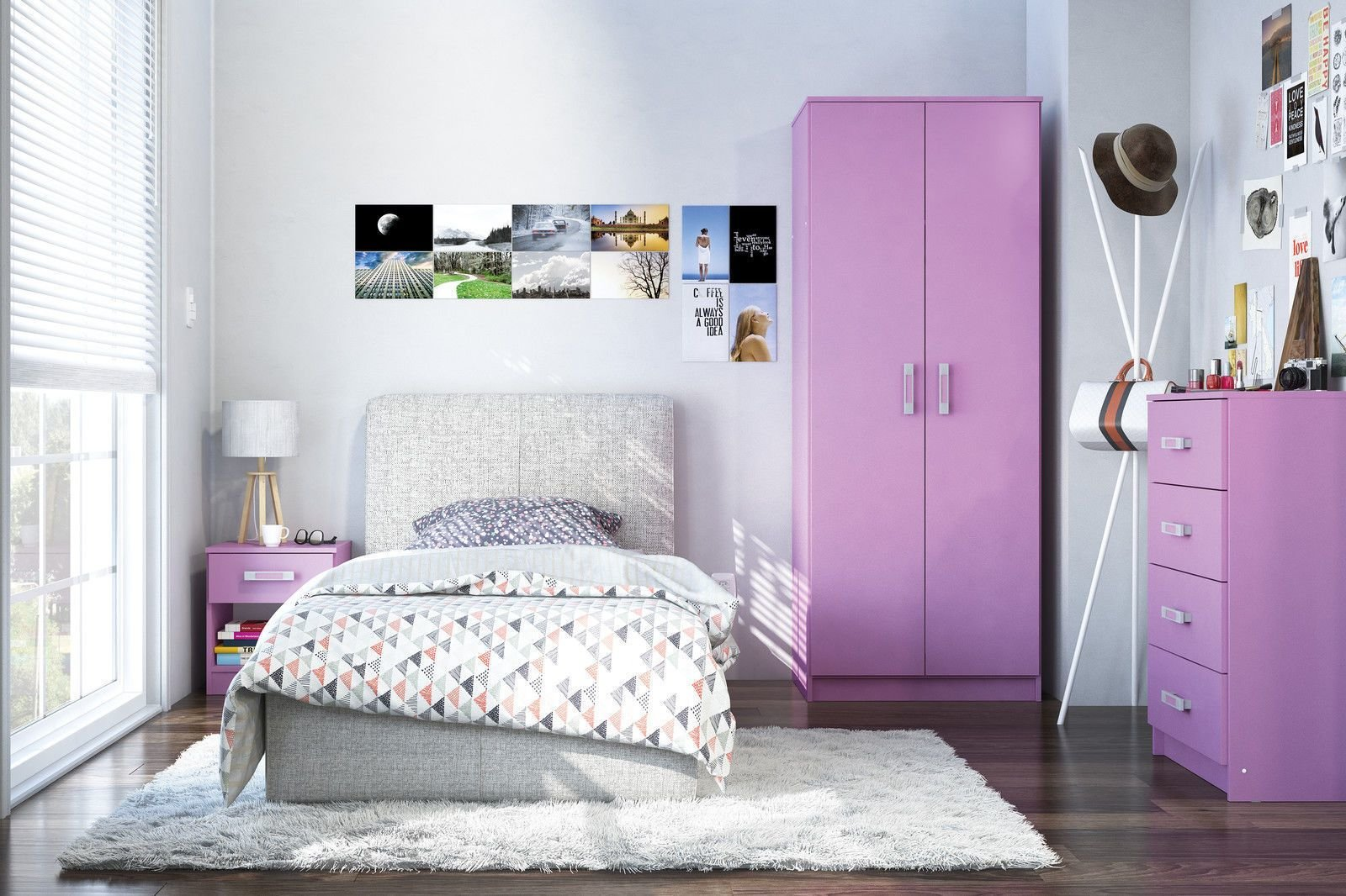 Best Reflect Pink High Gloss Girls Bedroom Furniture Set With Pictures