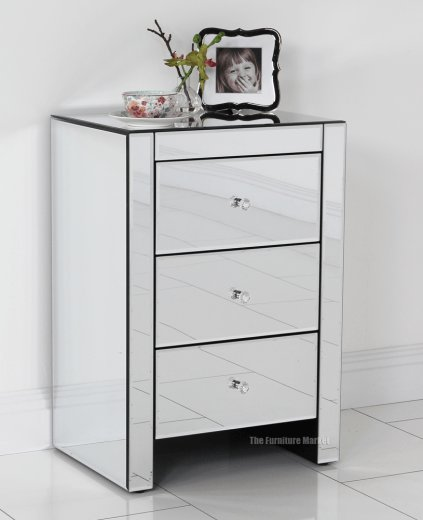 Best Venetian Mirrored Glass 3 Drawer Bedside Lamp Table With Pictures