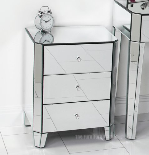Best Venetian Art Deco Mirrored Glass 3 Drawer Bedside With Pictures