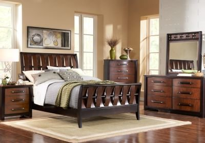 Best Bedford Heights King Dark Cherry 5Pc Sleigh Bedroom With Pictures
