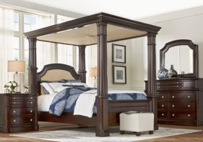 Best Dumont Cherry 6 Pc King Canopy Bedroom King Bedroom Sets With Pictures
