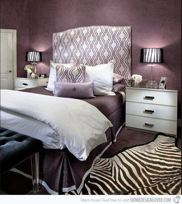 Best Purple Hued Bedroom With Zebra Striped Rug 15 Ravishing With Pictures