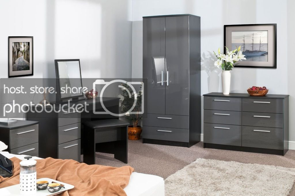 Best Bedroom Furniture Sets High Gloss Grey On Black Wardrobe With Pictures