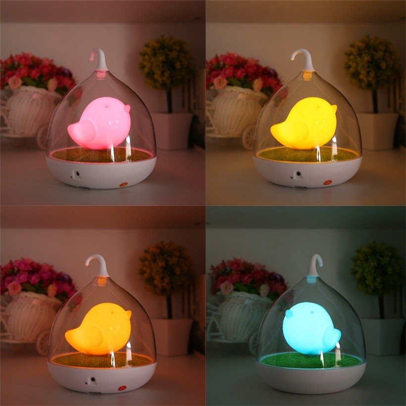 Best Cute Led Night Lamp Kids Bedroom Table Lights Birdcage With Pictures