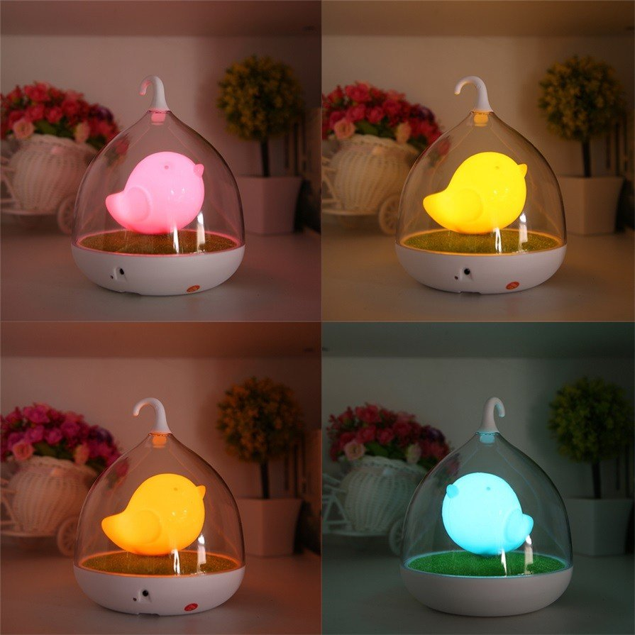 Best Home Led Night Lamp Kids Bedroom Table Lights Birdcage With Pictures