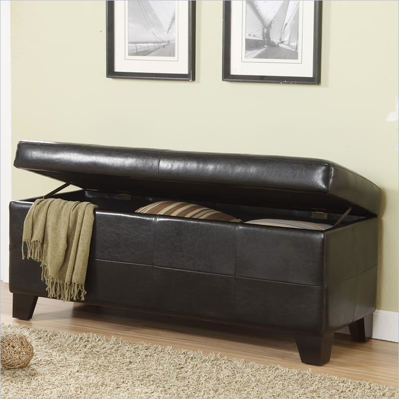 Best Modus Upholstered Milano Blanket Storage Bench Black Leatherette Bedroom Benche Ebay With Pictures