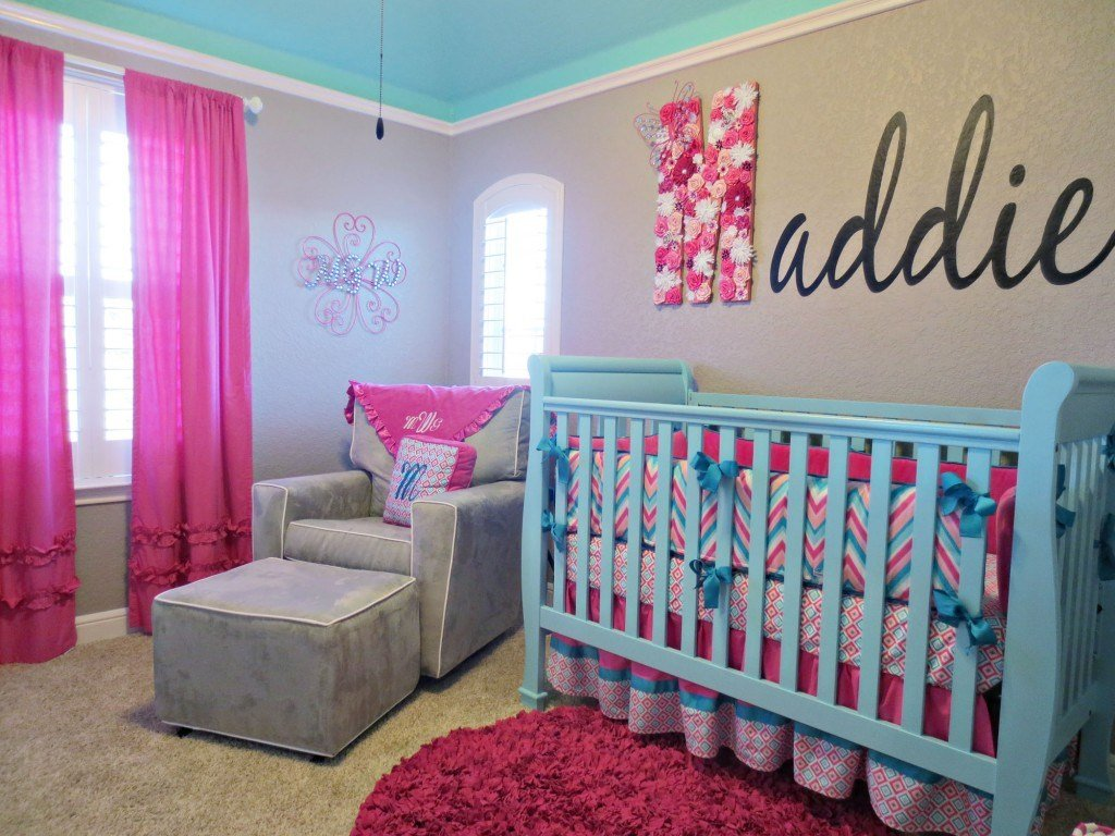 Best Maddie S Pink Aqua And Gray Chevron Nursery Project With Pictures
