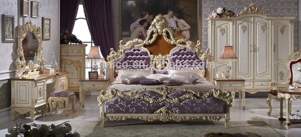 Best Solid Beech Wood Hand Carved Royal Rococo Bedroom Furniture Anqitue Baroque Bed Room Set With Pictures