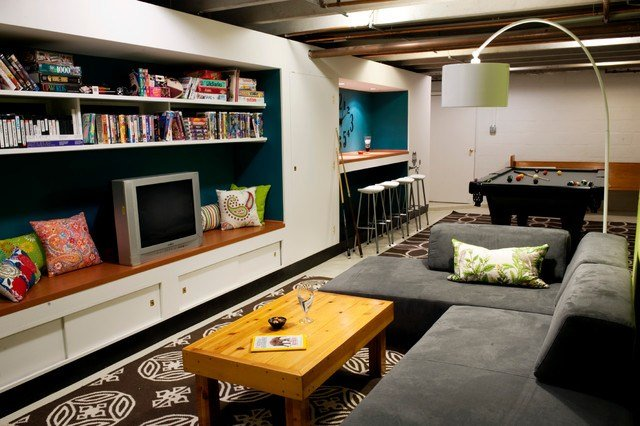 Best Basement Pool Room T**N Hangout Contemporary Basement With Pictures