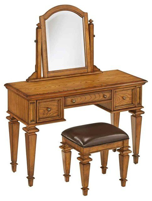 Best Bedroom Vanity Set In Distress Oak Finish Traditional With Pictures