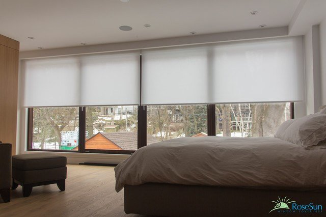 Best Bedroom Window Blinds Remote Operated Modern Bedroom Toronto By Rosesun Motorized Window With Pictures