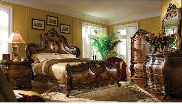 Best Aico Furniture Palais Royale Panel Bedroom Set In Rococo Cognac 71012 35 2Se Transitional With Pictures