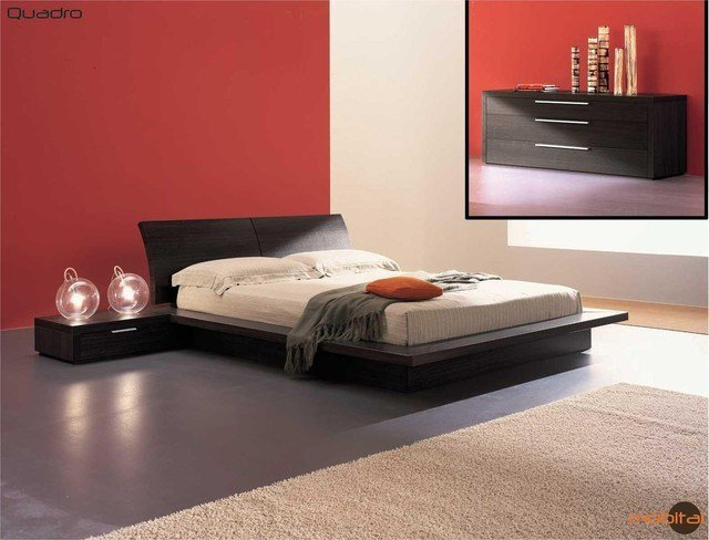 Best Mobital Furniture Contemporary Oak Truffle Bedroom Set Mobi Quadro K Contemporary With Pictures