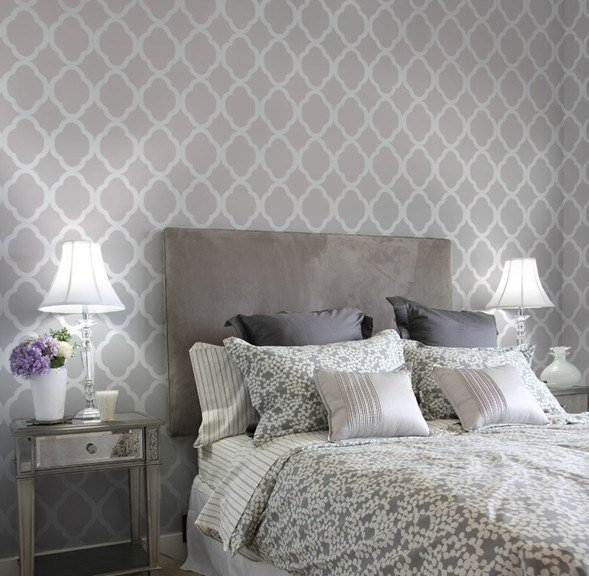 Best Home Decor Wall Stencils Contemporary Bedroom New With Pictures
