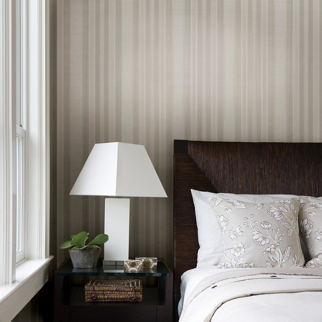 Best Striped Wallpaper Traditional Bedroom Other Metro With Pictures