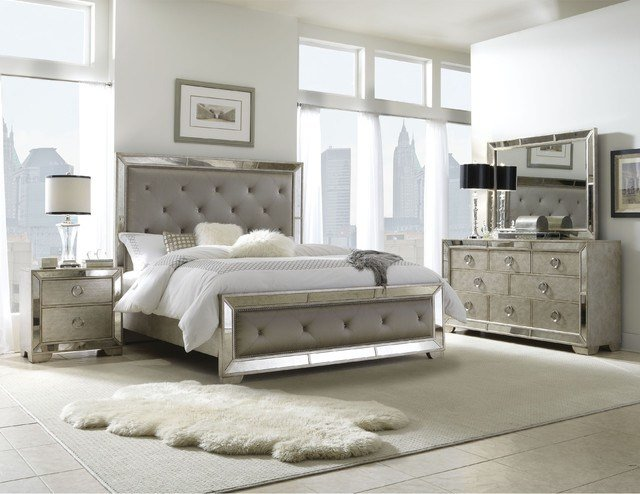 Best Celine 5 Piece Mirrored And Upholstered Tufted Queen Size Bedroom Set Contemporary Bedroom With Pictures