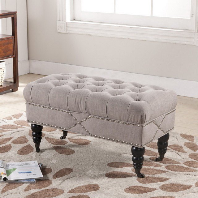 Best Baxton Studio Hildebrand Linen Modern Tufted Bench With Pictures