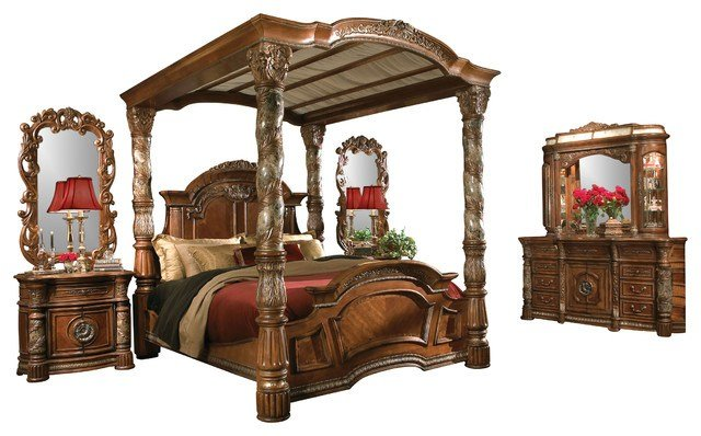 Best 5 Piece Villa Valencia King Size Canopy Poster Bedroom Set With Pictures