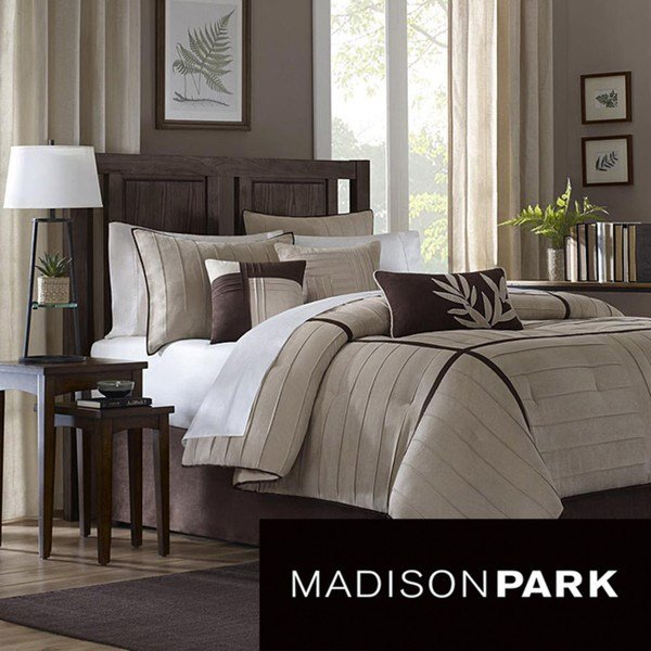 Best Madison Park Dune Beige Brown 7 Piece Contemporary Comforter Set Modern Comforters And With Pictures