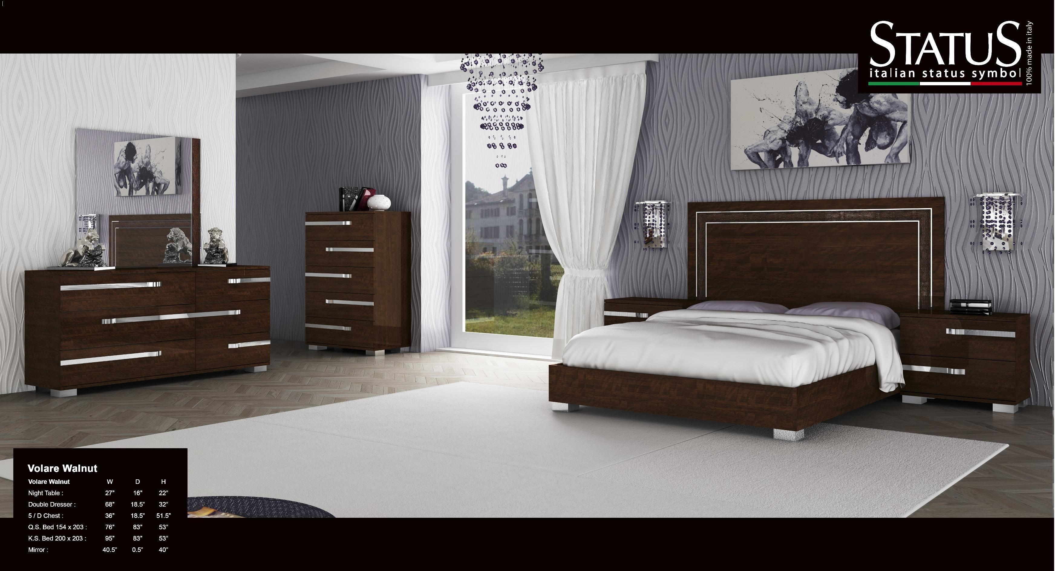 Best Volare King Size Modern Style Platform Bed Walnut 5 Pc With Pictures
