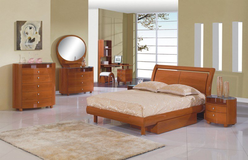 Best Emily Kids Cherry 4Pc Full Twin Size Modern Bedroom With Pictures
