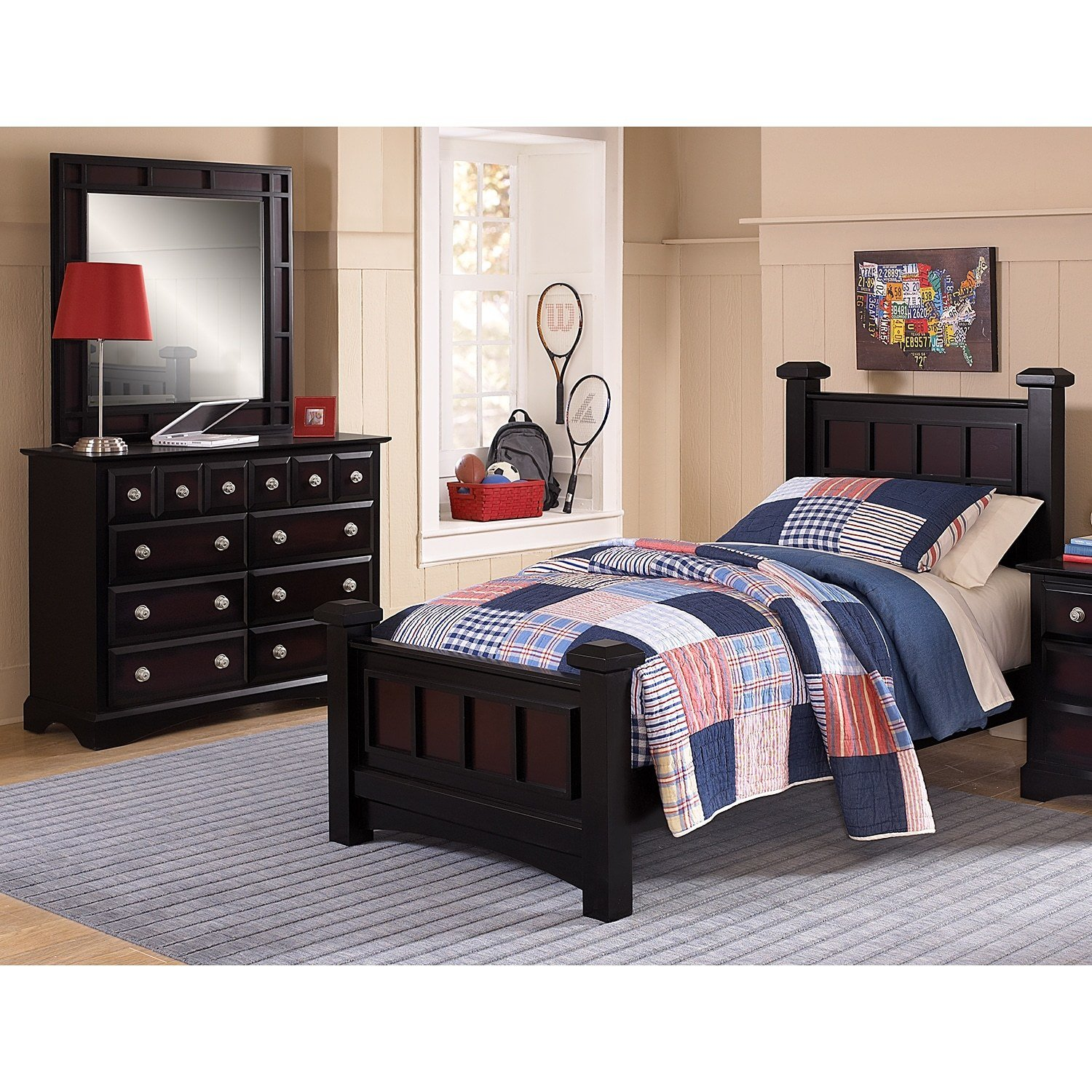 Best Winchester 5 Piece Twin Bedroom Set Black And Burnished With Pictures