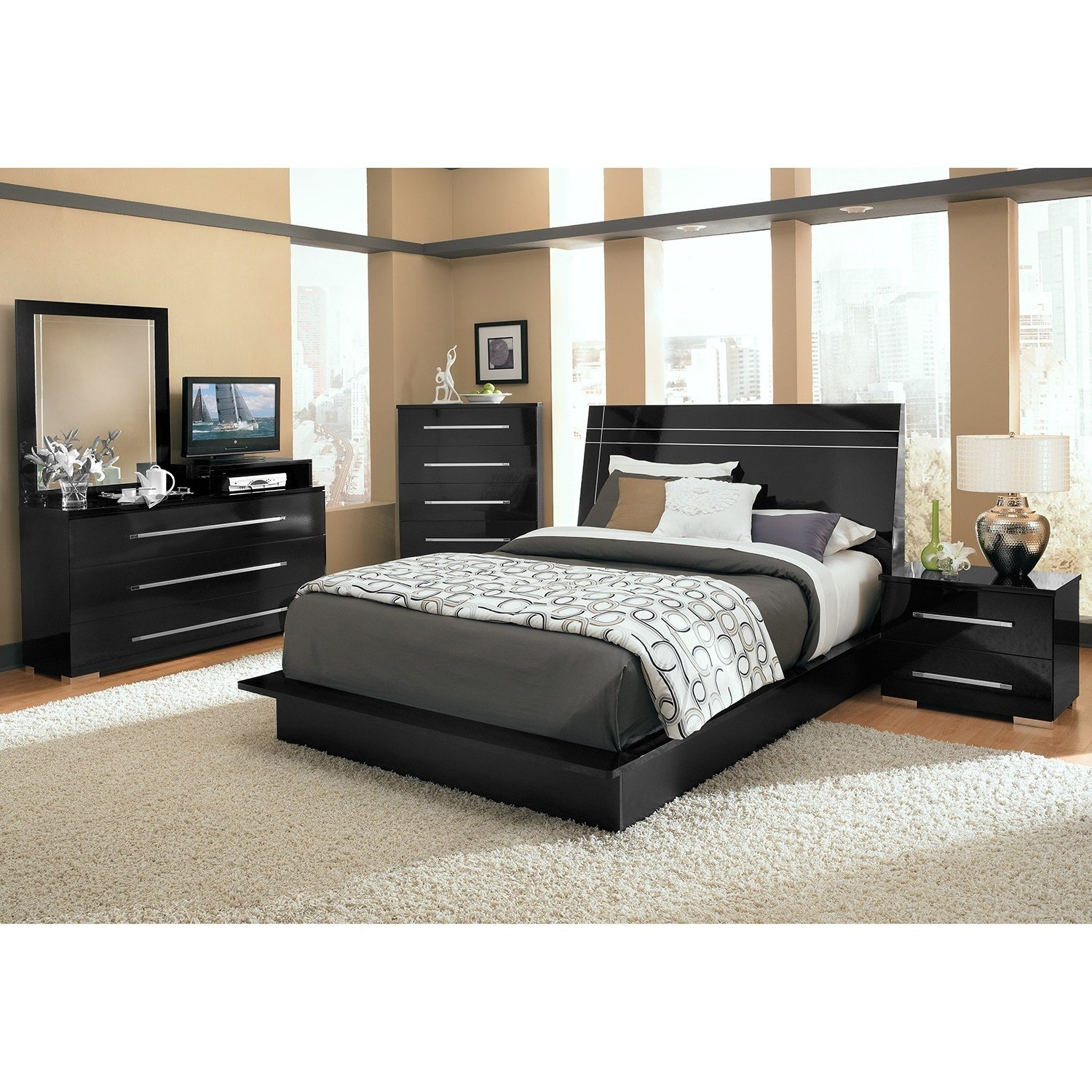 Best Dimora Queen Panel Bed Black American Signature Furniture With Pictures
