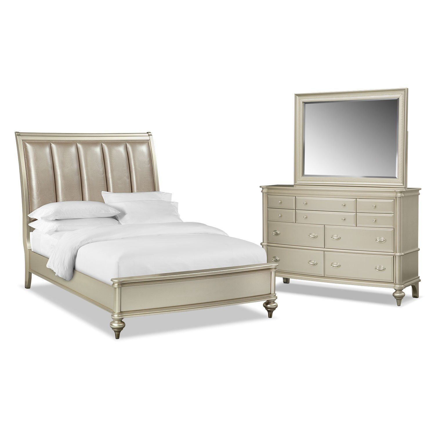 Best Esquire 5 Piece Queen Bedroom Set Platinum American With Pictures