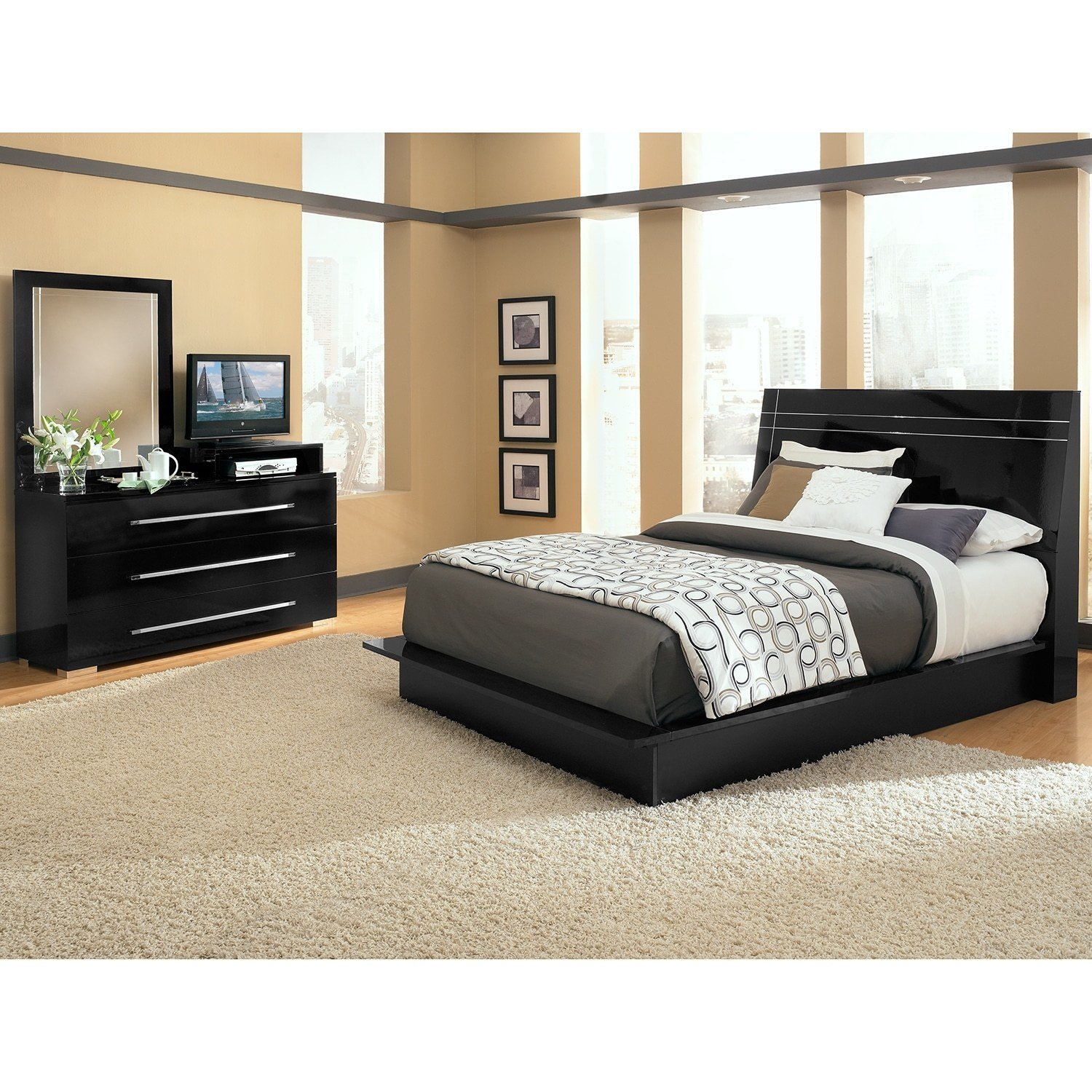 Best Dimora Black Ii 5 Pc Queen Bedroom Value City Furniture With Pictures