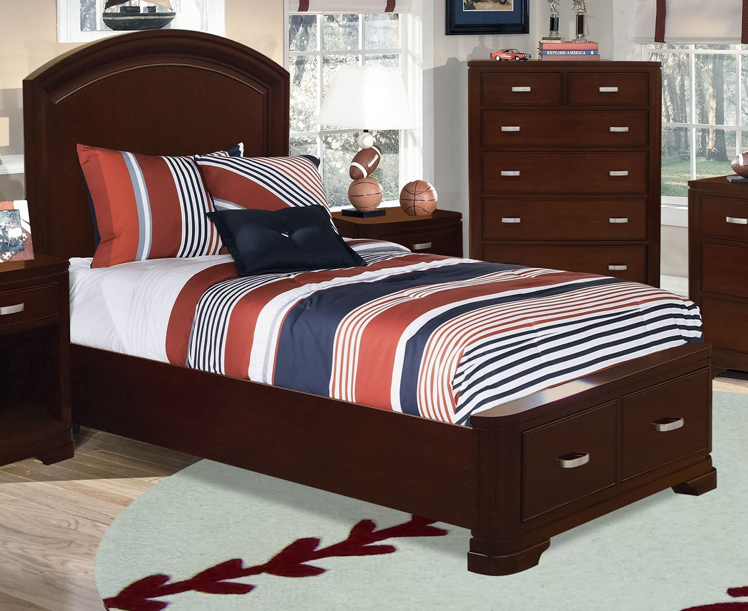 Best New Justin Twin Storage Bed Deep Cherry Leon S With Pictures