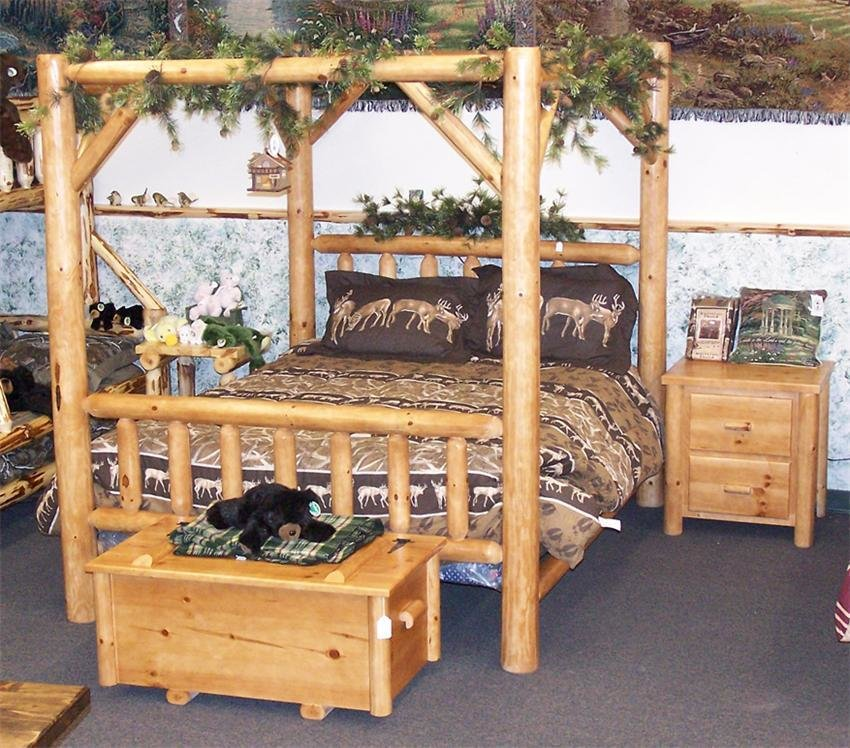 Best Amish Rustic Pine Log Canopy Bed With Pictures
