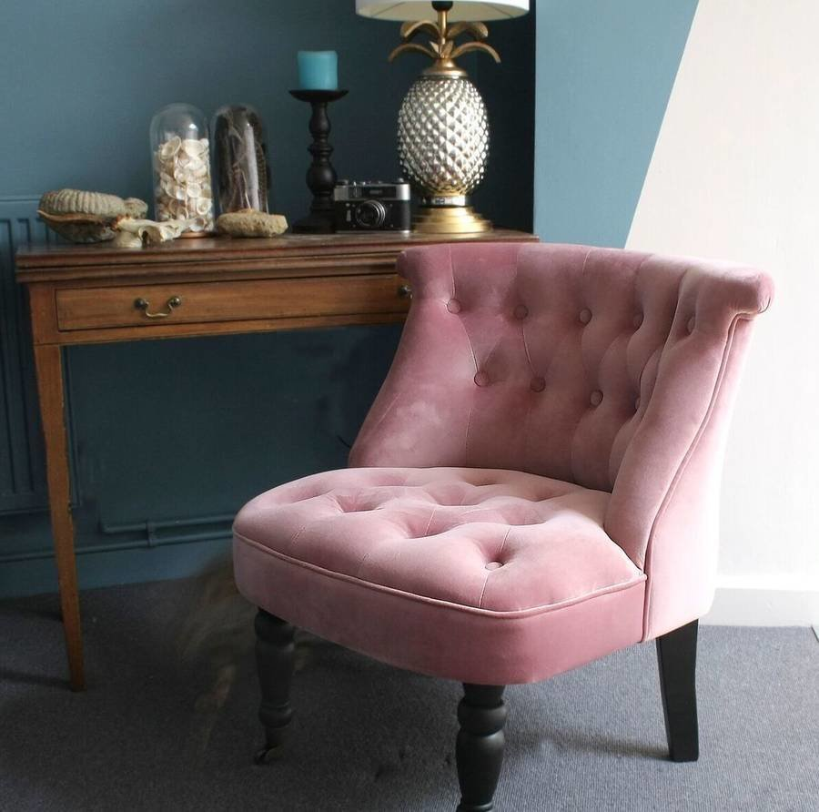 Best Dusky Pink Velvet Button Back Bedroom Chair By Ella James With Pictures