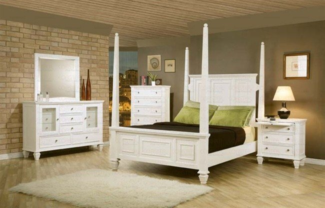Best 6 Piece Sandy Beach Bedroom Set With Poster Bed In White Finish By Coaster 201300 With Pictures