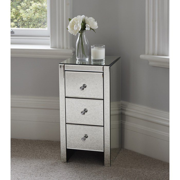 Best Vintage Mirrored Bedside Table Furniture Bedroom Side With Pictures