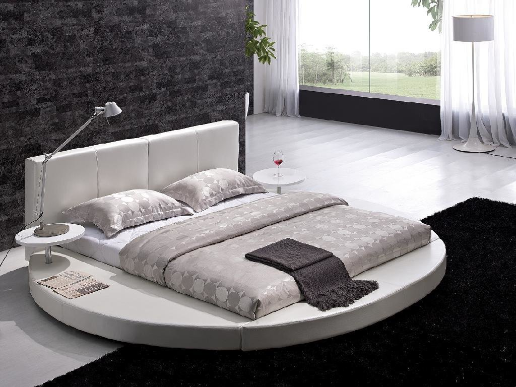 Best Contemporary White Leather Headboard Round Bed Queen Modern Circle Design Ebay With Pictures