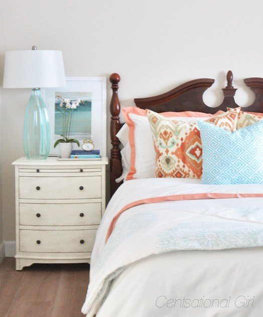 Best Coral Aqua Guest Room Centsational Style With Pictures