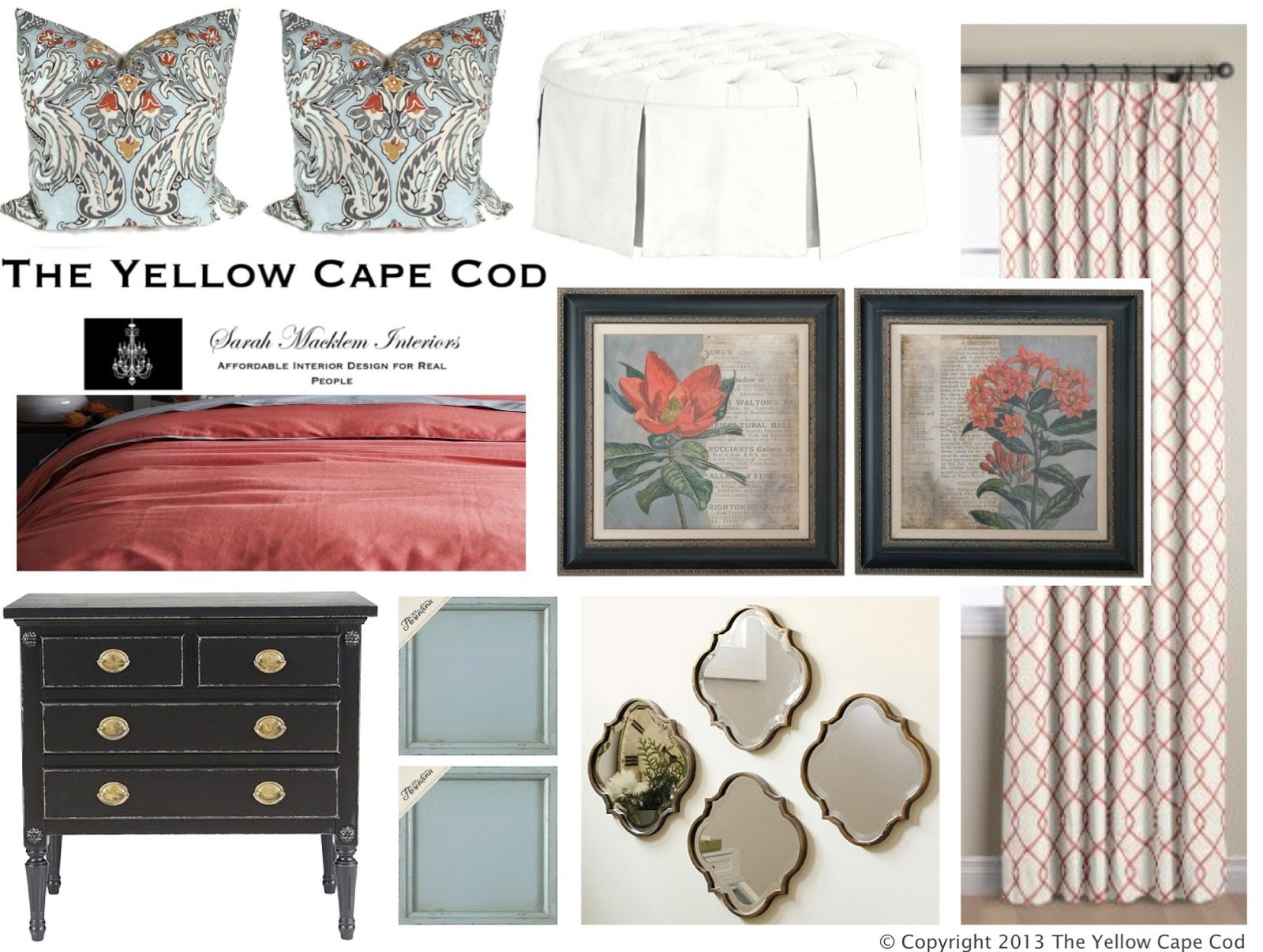 Best The Yellow Cape Cod Soft Blue And Coral Master Bedroom With Pictures
