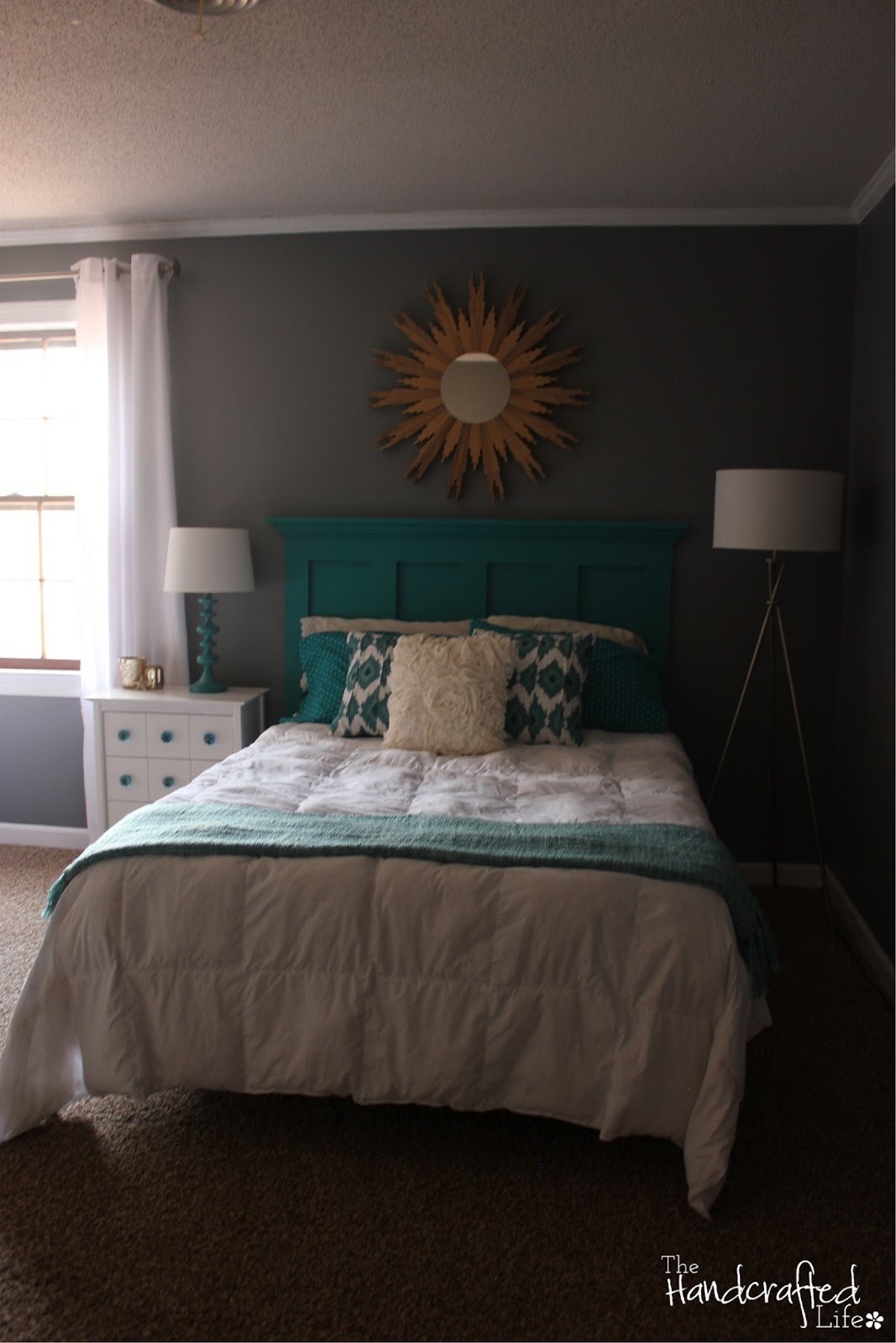 Best The Handcrafted Life Teal White And Grey Guest Bedroom Reveal With Pictures