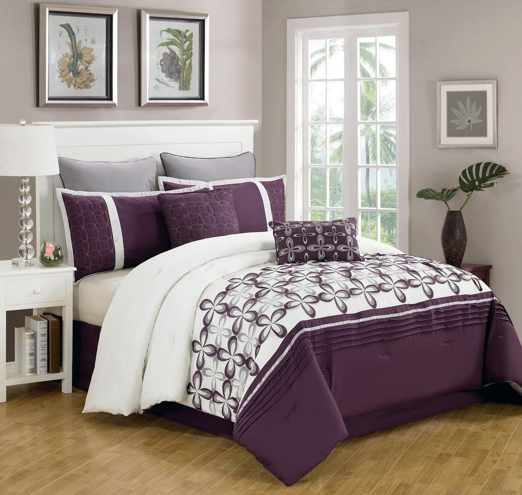 Best 8 Piece Queen Ellis Purple And White Bedding Comforter Set With Pictures