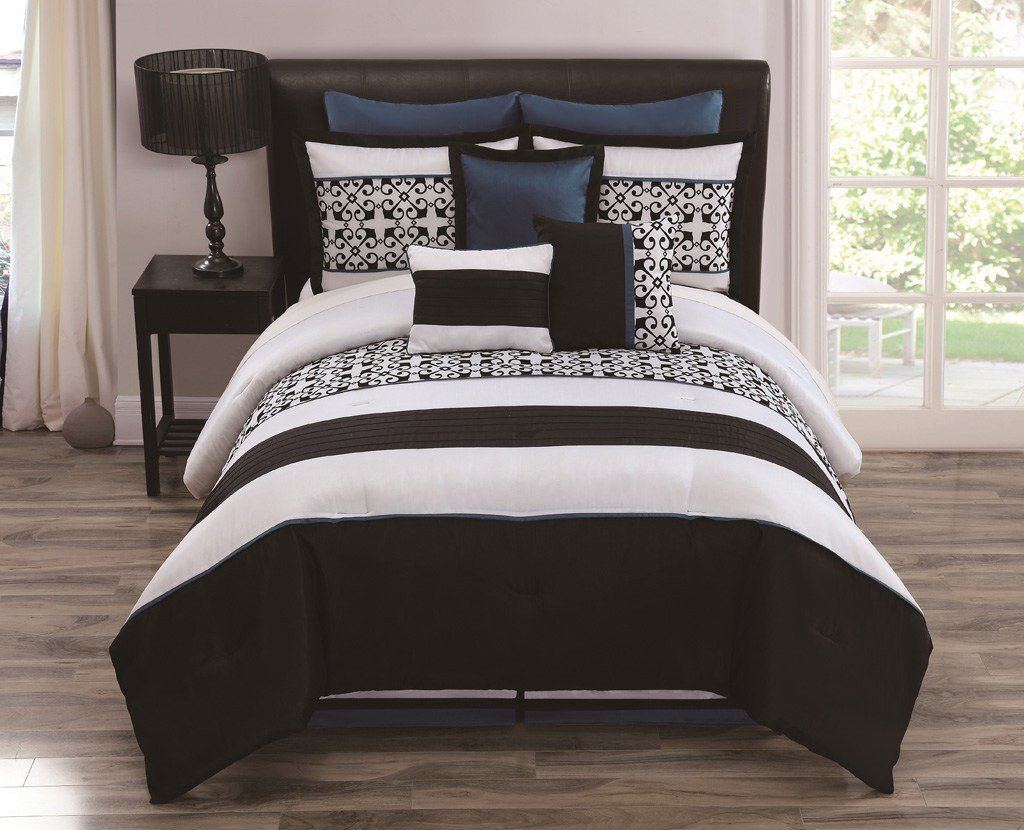 Best 9 Piece Queen Lexi Black White Teal Bedding Comforter Set Ebay With Pictures