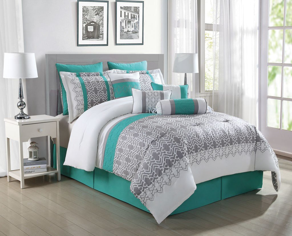 Best 10 Piece Luna Teal Gray White Reversible Comforter Set Ebay With Pictures