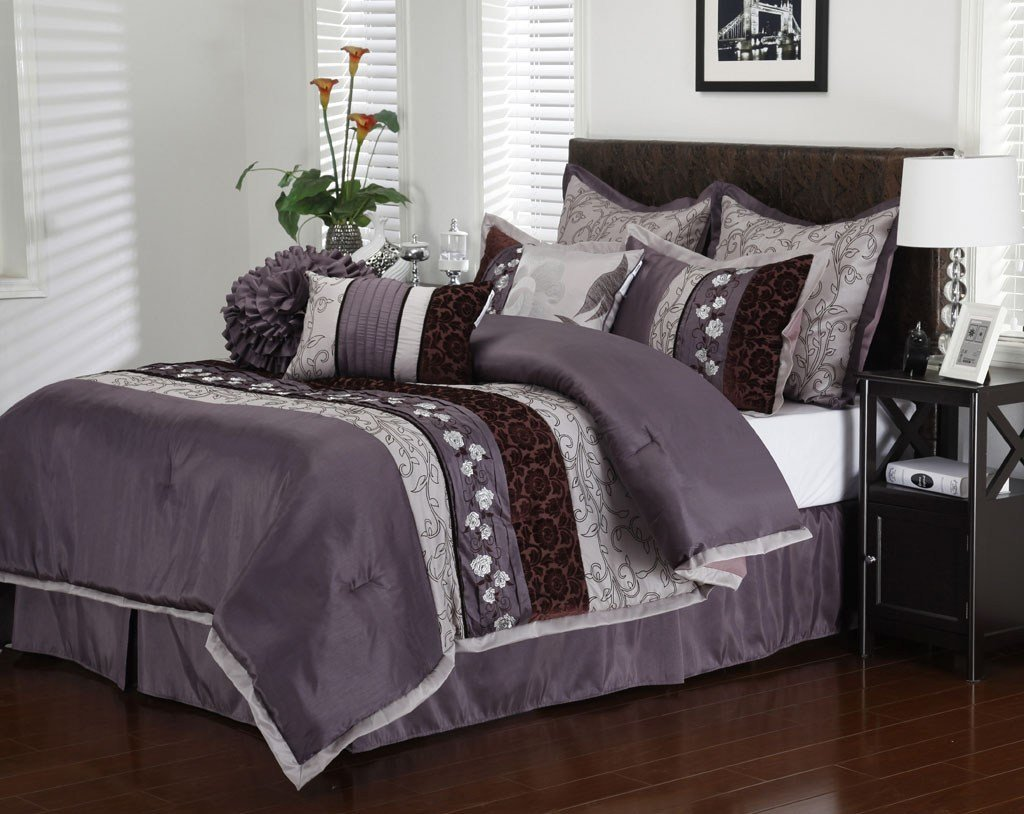 Best 13 Piece Cal King Riley Purple Bed In A Bag Set With Pictures