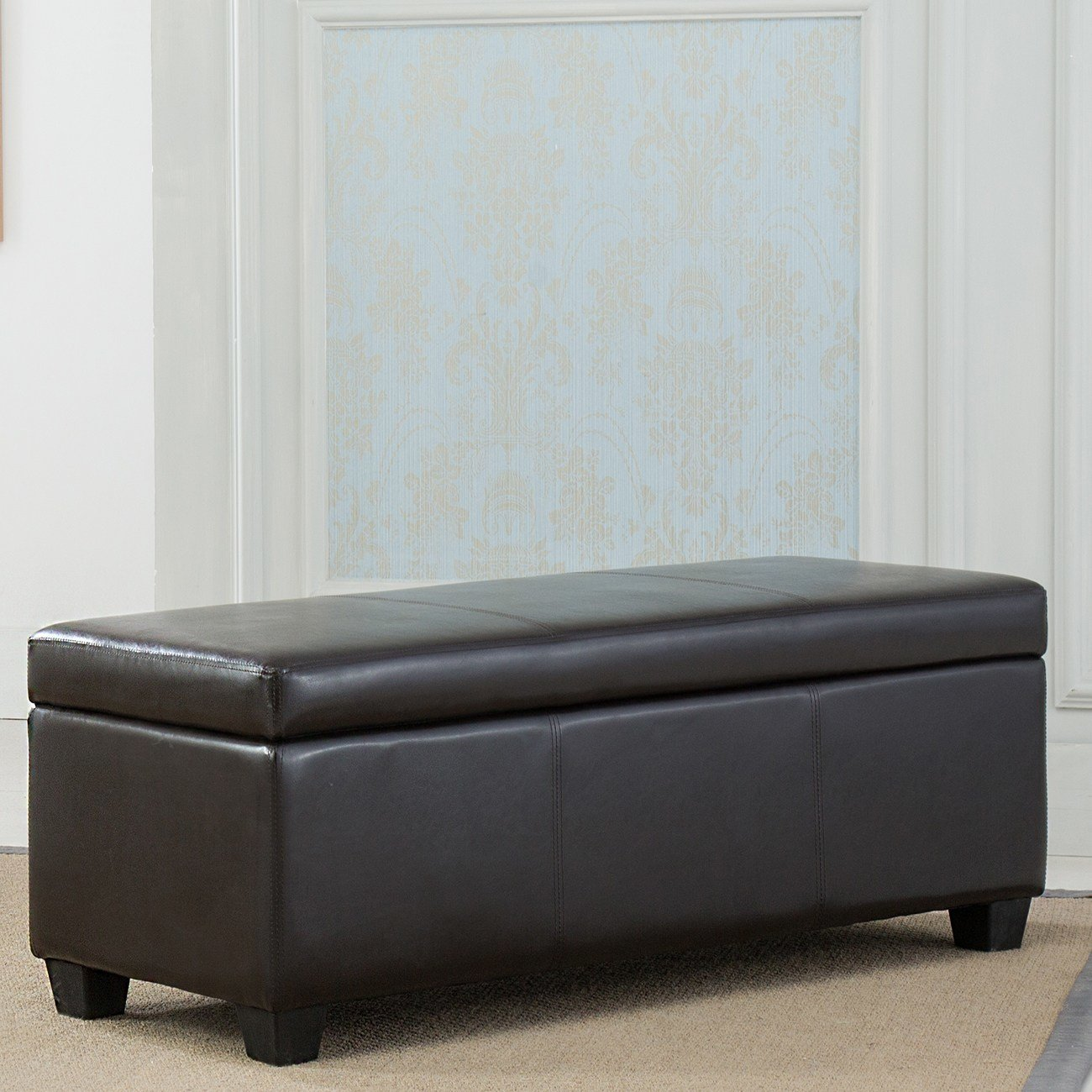 Best Contemporary Modern Faux Leather Bedroom Rectangular Storage Ottoman Bench 48 Ebay With Pictures
