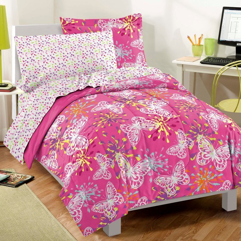 Best New Butterfly Party Pink Girls Bedding Comforter Sheet Set With Pictures