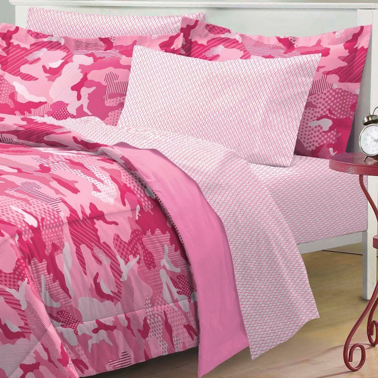 Best New Geo Camo Pink Camouflage Girl Bedding Kid Comforter With Pictures